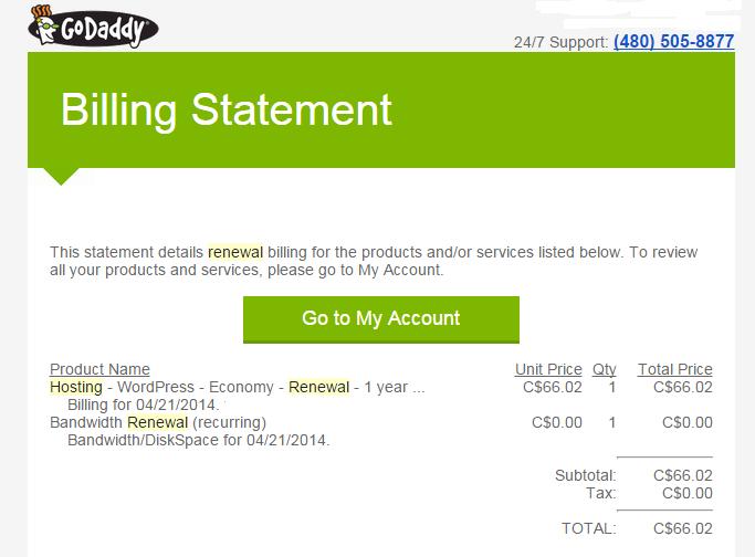 2014 GoDaddy billing statement