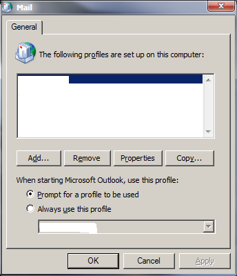 email windows control panel
