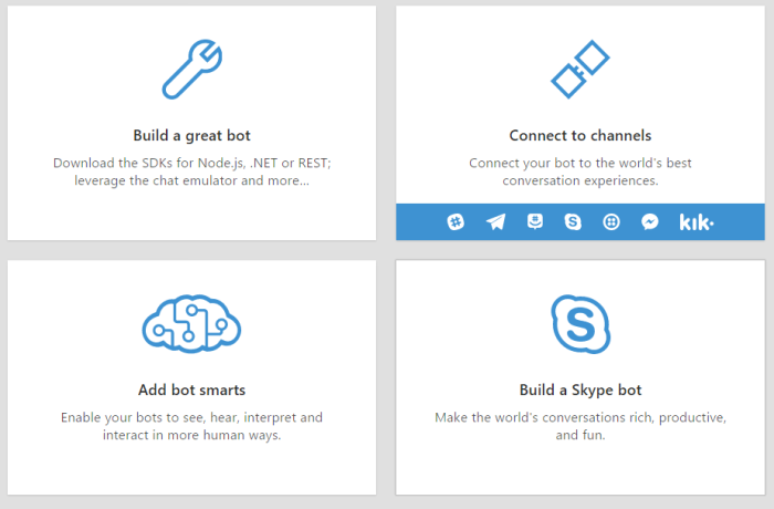 Build and connect intelligent bots to interact with your users naturally wherever they are, from text/sms to Skype, Slack, Office 365 mail and other popular services.